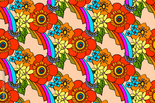 Photo seamless pattern with bright flowers in the style of the 70s
