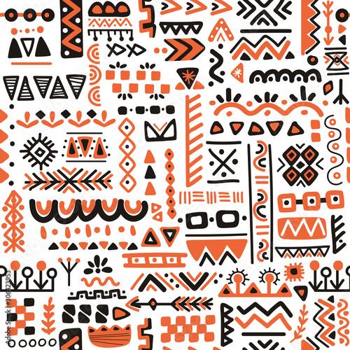Photo Seamless folk art pattern in Scandinavian style