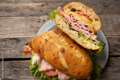 Ham and cheese sub sandwich with artisan bread