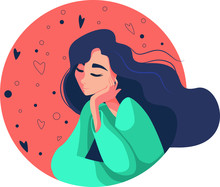 Young Woman With Flying Hair Dreams. Flat Vector Illustration