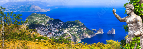 Breathtaking scenery of beautiful Capri island, popular for summer holidays in Italy