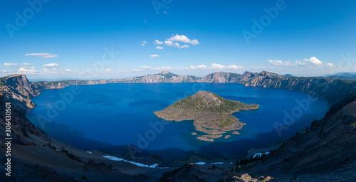 Fotografia, Obraz Panorama of Crater Lake and Wizard Island from Hillman Peak