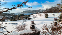 Snowy Day In Windermere, Lake District. Snow On A Cold Winter In Cumbria, UK.