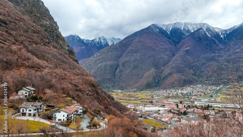 Bard town in the Alps mountains of Aosta valley with panoramic views in Piedmont, Italy Canvas Print