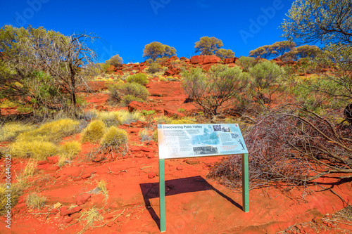 Discovery Palm Valley tourist information in Finke Gorge National Park, Northern Territory, Central Australia, Red Centre Outback Canvas-taulu