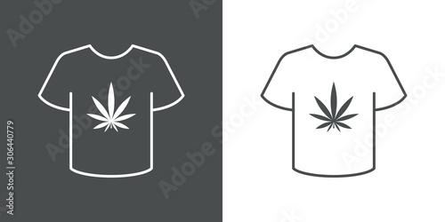 Icono plano lineal camiseta t con logotipo hoja de cannabis en fondo gris y fond Canvas Print