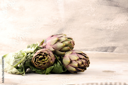 artichokes on grey background Canvas Print