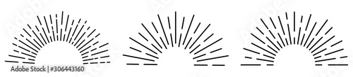Obraz Sun rays or sunshine linear drawing. Vector illustration - fototapety do salonu