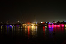 Beautiful View Of River Nile During Night In Cairo Egypt Showing Light Reflection From Surrounding Buildings And Bouts