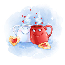 Two Cups In Love With Hot Tea And Heart-shaped Cookies. Watercolor Textural Background And Cartoon Funny Character. Greeting Card For Valentine's Day.