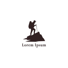 Tourist Climbs The Mountain Symbol, Travel And Expedition Logo, Hiking Logo Template