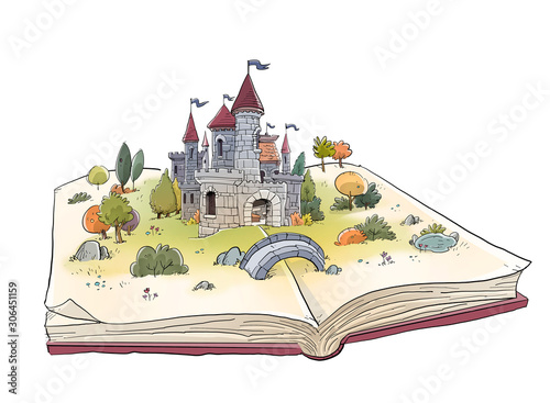 open book with medieval castle Canvas Print