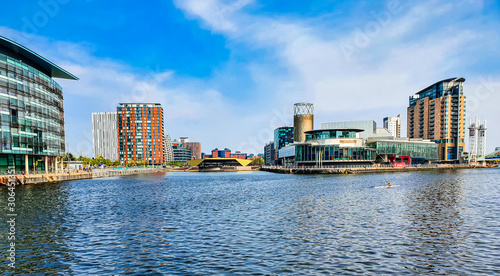 Salford Quays Greater Manchester panoramic cityscape view of popular destination with shopping malls, history, theatre, museums, heritage and sport in England, UK Canvas Print