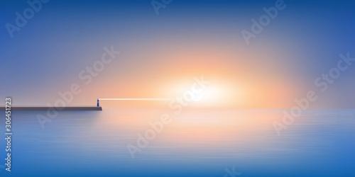 Obraz Le jour se lève sur un panorama maritime calme et reposant, avec un phare à l'horizon qui guide les navires de pêche jusqu'au port. - fototapety do salonu