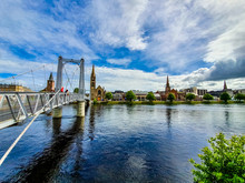 Greig Street Bridge In Inverness Is A Suspension Bridge (footbridge) Across The River Ness In Scotland.