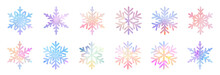 Big Bundle Set Of Vector Hand Drawn Doodle Watercolor Snowflakes
