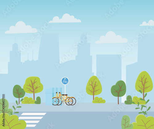 urban ecology parking bicycles transport crossroad street cityscape
