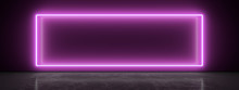 White Neon Lamp On A Magenta Wall. Blurry Reflections On The Dark Floor. 3d Rendering Image.