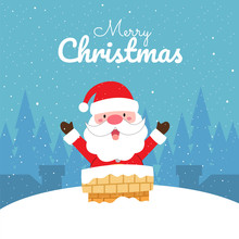 Merry Christmas With Cute Kawaii Hand Drawn Santa Claus With Smiling And Funny Face In Chimney. Cartoon. Vector. Character. Illustration. Flat Design. Background. Greeting. Invitation. Postcard