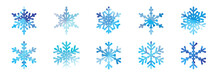 Big Bundle Set Of Blue Vector Hand Drawn Doodle Watercolor Snowflakes