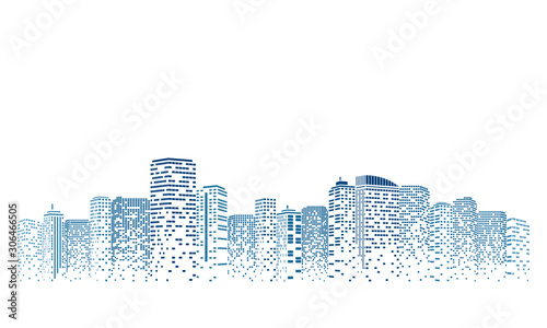 Fotografie, Obraz Digital building city Illustration at night, City scene on night time