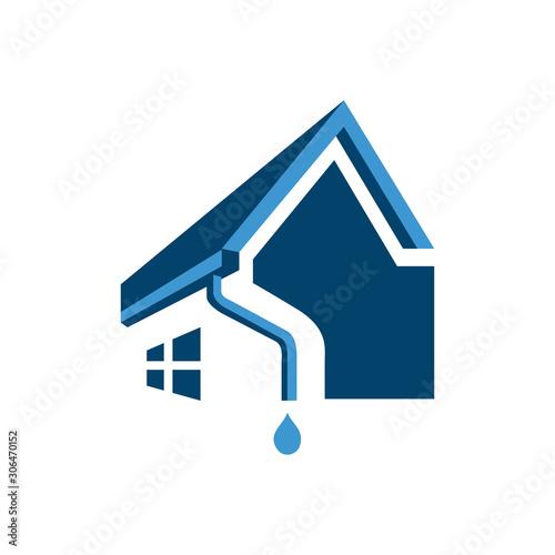 Obraz na plátne  house roof gutter logo design