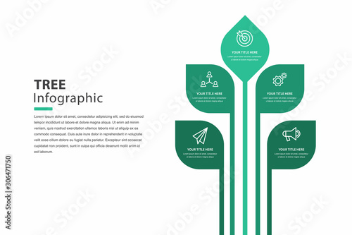 Obraz tree infographic, graph for steps to reach the goal, template vector eps 10. - fototapety do salonu