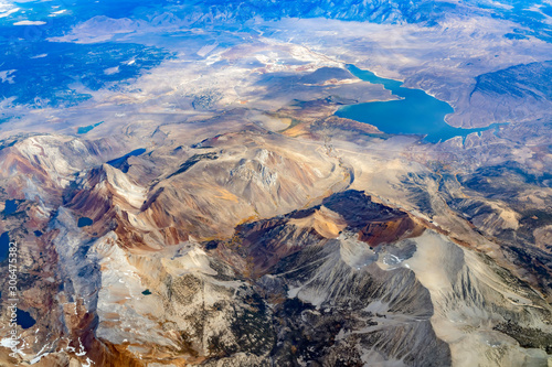 Aerial view of the Lake Crowley, Bloody Mountain and Laurel Mountain Wallpaper Mural