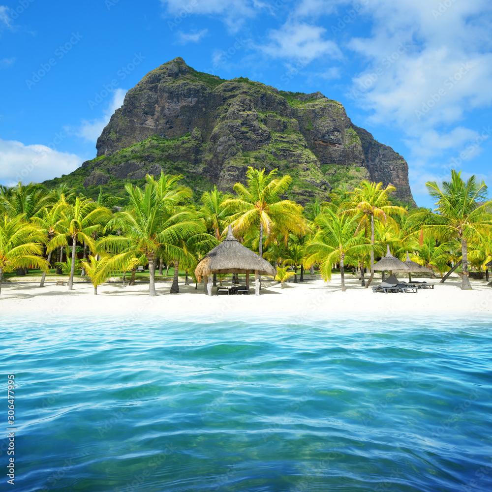 Fototapeta Beautiful sandy beach with Le Morne Brabant mountain on the south of Mauritius island. Tropical landscape.