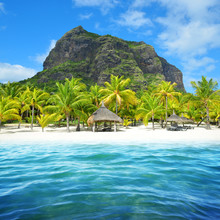 Beautiful Sandy Beach With Le Morne Brabant Mountain On The South Of Mauritius Island. Tropical Landscape.