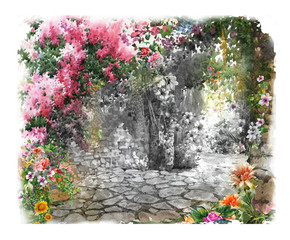 FototapetaAbstract colorful flowers watercolor painting landscape. Spring with buildings and walls .