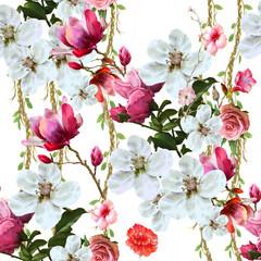 Panel Szklany Optyczne powiększenie Watercolor painting of leaf and flowers, seamless pattern on white background