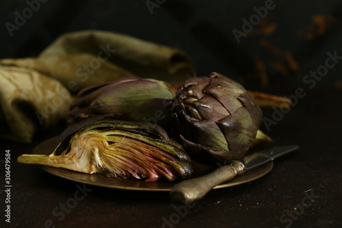 natural purple vegetables artichokes for salad and canning Canvas Print