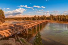 Fishing Bridge Over Yellowstone River At Sunset.Yellowstone National Park.Wyoming.USA