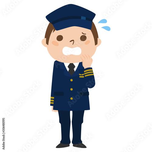 Fototapeta 職業別、男性パイロットのイラスト。汗をかいて、慌てている男性。