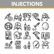Injections Collection Elements Icons Set Vector Thin Line. Anti-ageing Treatments Procedure, Fillers Medical Cosmetic Injections Concept Linear Pictograms. Monochrome Contour Illustrations