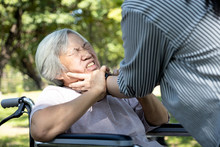 Asian Senior Mother Were Physically Abused,angry Daughter Or Female Caregiver Use Hands To Strangle Old People Neck And Fight, Hit, Attack,physical Abuse Elderly Alzheimer Patient,family Stop Violence