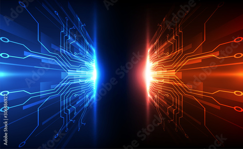 Fotografiet  Vector Abstract futuristic circuit board global system, Illustration high digita