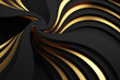 canvas print picture Abstract 3d gold and black waves Background. 3d Rendering