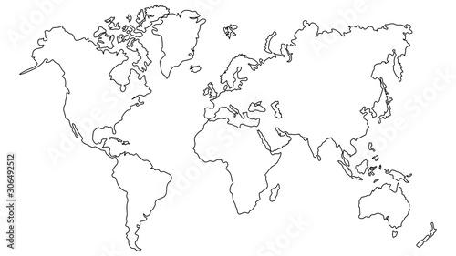 Fototapeta Vector illustration World map outline on white isolated background.  obraz