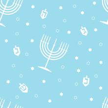 Seamless Pattern On The Theme Of Hanukkah. The Illustration Contains Jewish Holiday Symbols Such As Dreidle, Menorah. Vector Illustration On The Theme Of Hanukkah.