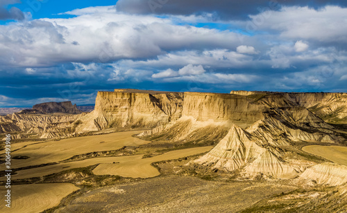 Aerial view of Bardenas Reales semi-desert natural region at sunset in Spain Canvas-taulu