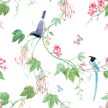Watercolor Floral Pattern With...