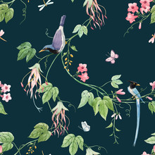 Watercolor Floral Pattern With Blue Birds Of Paradise And Pink Delicate Flowers. Dark Green Background. Stock Illustration.