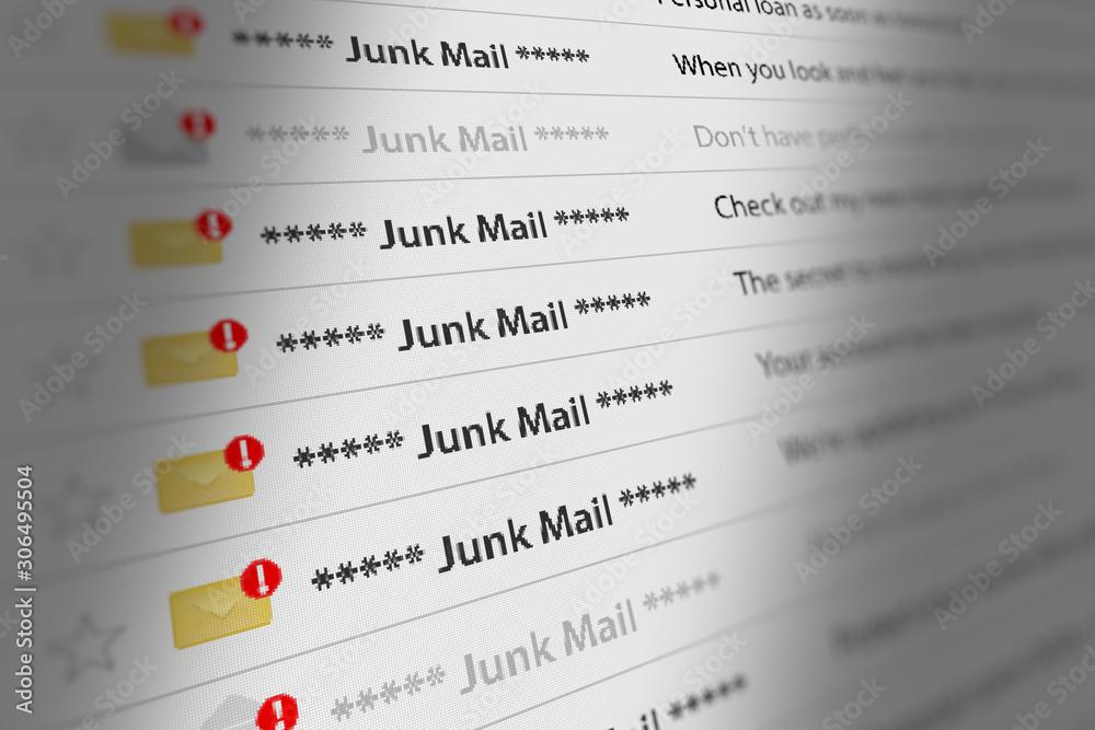 Fototapeta Close Up Shot of Junk Mail Box UI on Webmail