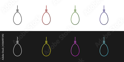 Fototapeta  Set Gallows rope loop hanging icon isolated on black and white background