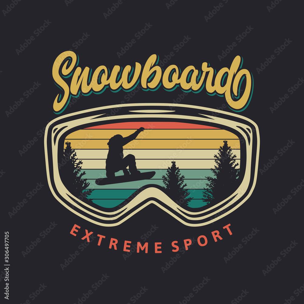 Snowboardowy sport ekstremalny typografia projekt koszulki z okularami i sylwetką snowboardzisty