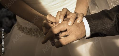 boda, pedida, anillos, manos, vestido Wallpaper Mural