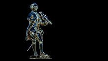 A Beautiful Vivid Colorful Illustration Of  Wolfgang Amadeus Mozart Playing A Violin.  Isolated / Die Cut On Dark Background With Clipping Path Or Selection Path And Copy Space For Text.
