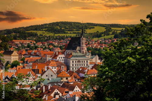 Fotografie, Obraz  Beautiful view to Cesky Krumlov on a sunset, Czech republic.
